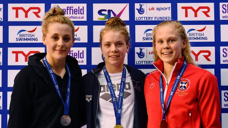 O'Connor (L) finished behind Anna Hopkin in the 50m freestyle final