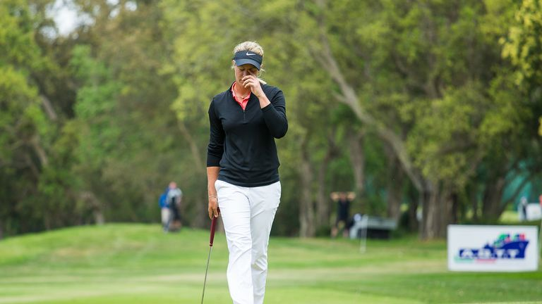 Suzann Pettersen cannot believe she left her birdie putt short on the final green