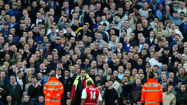 Thierry Henry celebrates his spectacular goal against Tottenham