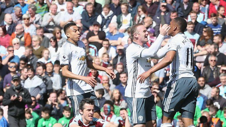 Rooney celebrates Anthony Martial's opener for United