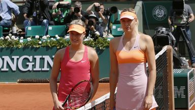 Eugenie Bouchard (L) is unhappy Maria Sharapova (R) has been allowed to return to professional tennis by the WTA following a drugs ban