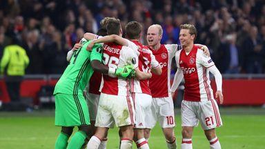 Ajax kept up the pressure on leaders Feyenoord in the race for the Eredivisie title by thrashing Heerenveen