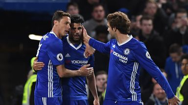 Diego Costa celebrates scoring Chelsea's fourth against Southampton