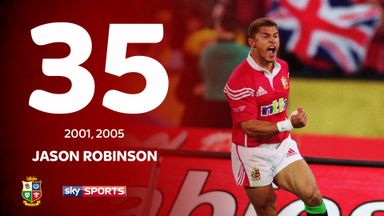 Jason Robinson played five Tests for the Lions, scoring two tries