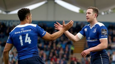 Leinster's Rory O'Loughlin celebrates scoring a try with Adam Byrne
