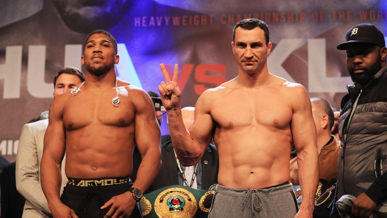 LONDON, ENGLAND - APRIL 28:  Anthony Joshua and Wladimir Klitschko pose during the weigh-in prior to the Heavyweight Championship contest at Wembley Arena