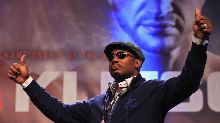 LONDON, ENGLAND - APRIL 28:  Lennox Lewis is introduced ahead of the weigh-in prior to the Heavyweight Championship contest between Anthony Joshua and Wlad