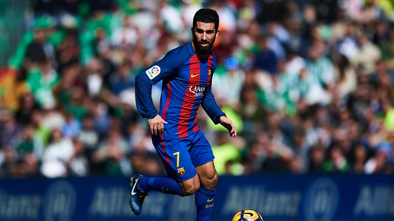 Arda Turan of FC Barcelona in action during La Liga match between Real Betis Balompie and FC Barcelona