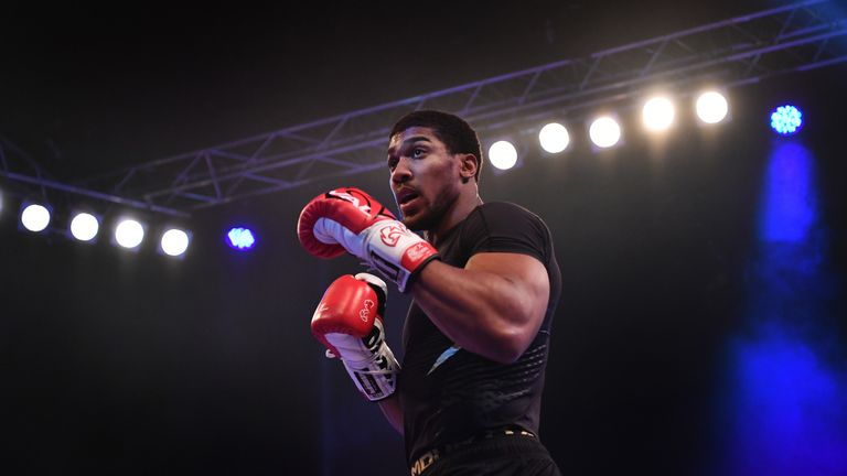 Anthony Joshua takes part in an open workout at Wembley Arena
