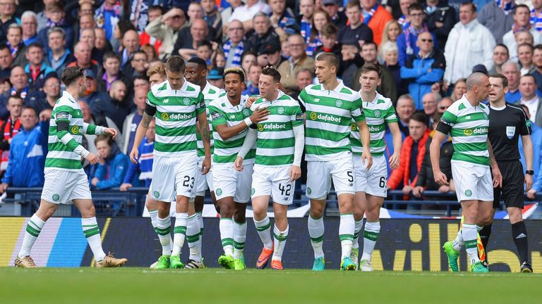 Callum McGregor is congratulated by team-mates after opening the scoring for Celtic
