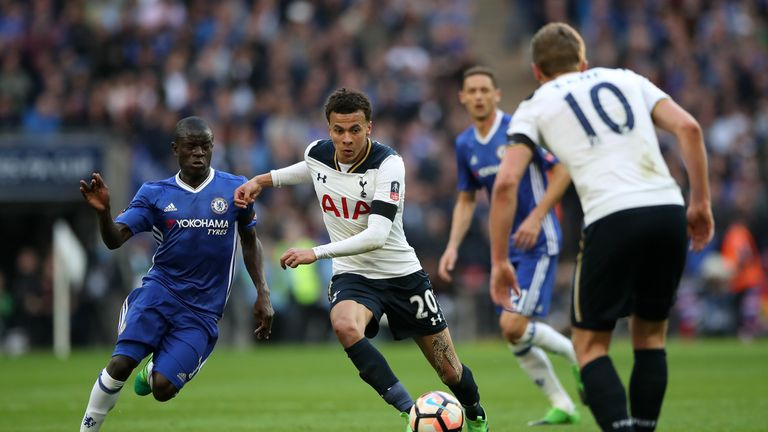 Chelsea's N'Golo Kante (left) and Tottenham Hotspur's Dele Alli battle for the ball during the Emirates FA Cup, Semi Final match at Wembley Stadium, London
