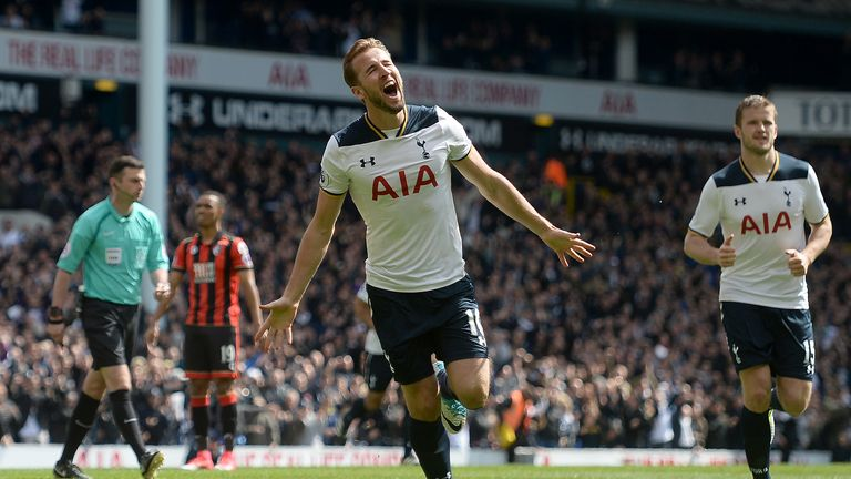 Harry Kane celebrates scoring Tottenham's third goal of the game