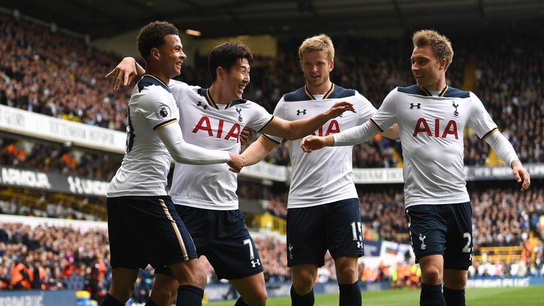 Heung-Min Son celebrates after giving Tottenham a 2-0 lead
