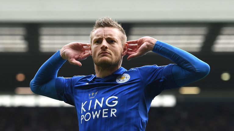 WEST BROMWICH, ENGLAND - APRIL 29:  Jamie Vardy of Leicester City celebrates scoring his sides first goal during the Premier League match