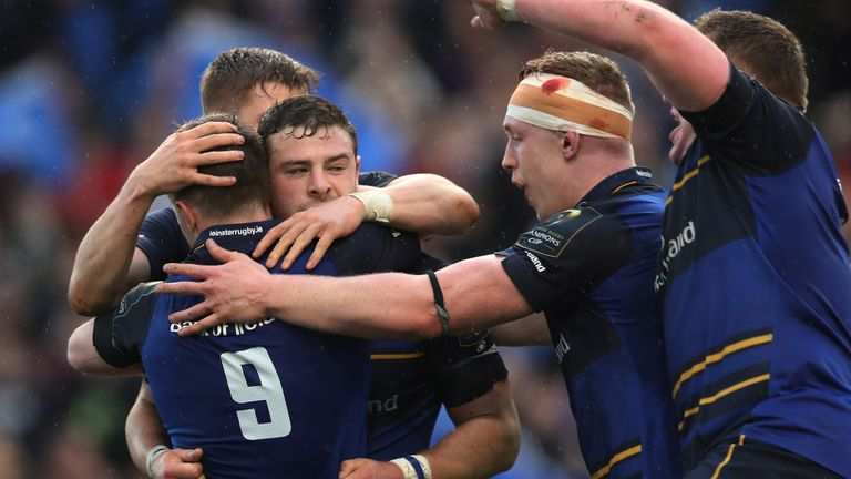 Leinster's Robbie Henshaw (centre) celebrates after scoring his side's third try during the European Champions Cup quarter final agaisnt Wasps 01/04/17