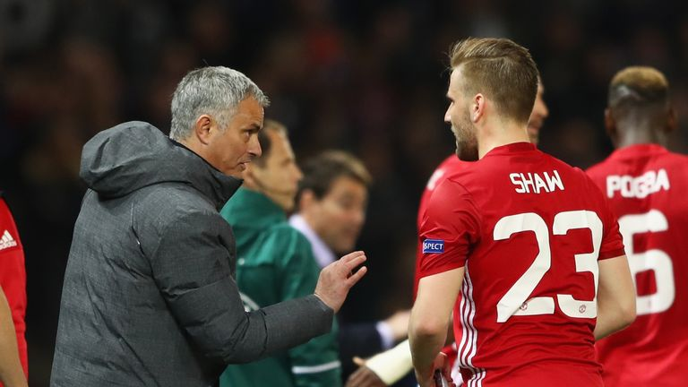 Jose Mourinho manager of Manchester United gives Luke Shaw of Manchester United instructions during the  Europa League