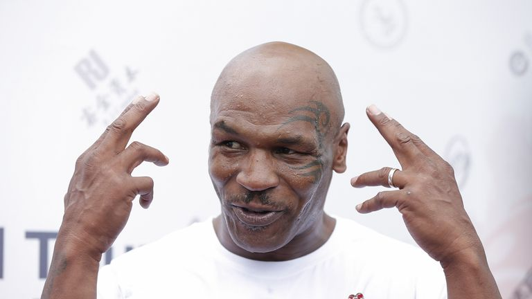 Former Heavyweight ChampionMike Tyson  attends the Great Wall Weigh-in of IBF World Boxing Championship Bout at Mutianyu