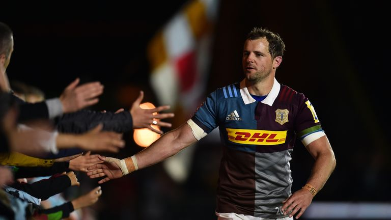 Quins fly-half Nick Evans thanks the supporters after his final home game