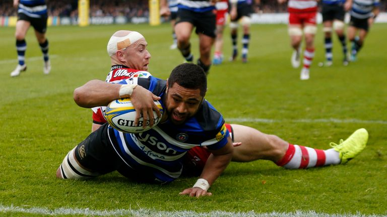 Taulupe Faletau scores his first try against Gloucester