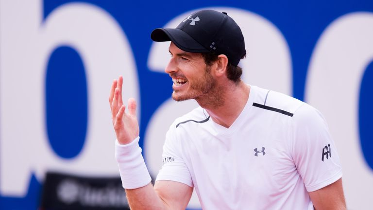 Andy Murray of Great Britain reacts during his semifinal match against Dominic Thiem of Austria on day six of the Barcelona Open