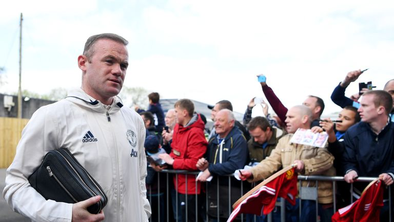 Wayne Rooney arrives at Turf Moor for Manchester United's Premier League match against Burnley