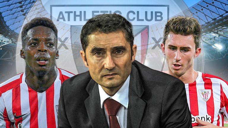 Atheltic Bilbao's Iñaki Williams, Ernesto Valverde and Aymeric Laporte
