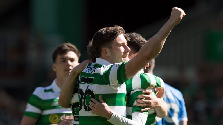 Celtic's Anthony Ralston celebrates after team-mate Patrick Roberts opens the scoring