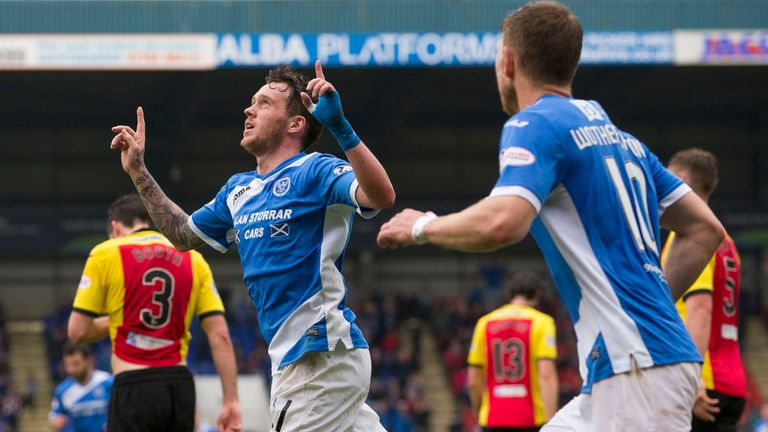 Danny Swanson celebrates after scoring a penalty for St Johnstone against Partick Thistle