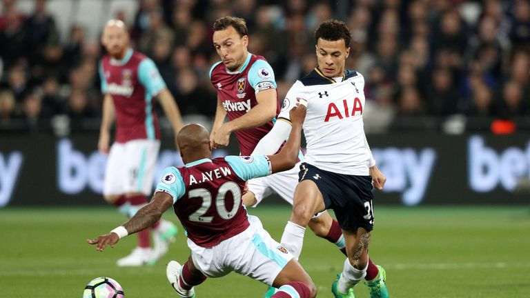 West Ham United's Andre Ayew and Tottenham Hotspur's Dele Alli battle for the ball