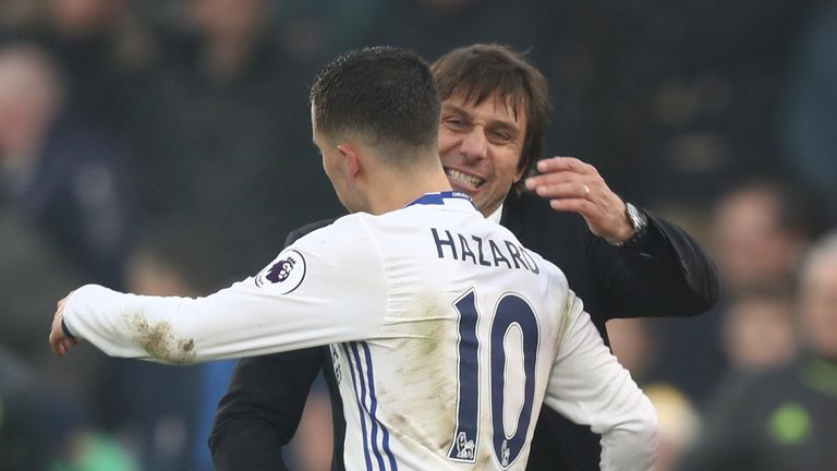 Hazard has said Conte improved him as a player within just one week of the Italian taking charge at Chelsea