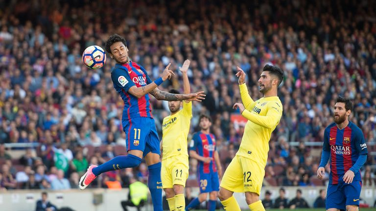 Neymar guides his header beyond  Andres to give Barcelona the lead