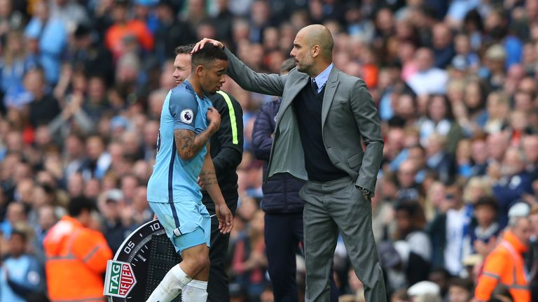 Pep Guardiola shows his appreciation to match-winner Gabriel Jesus after he was subbed off late on in Man City's victory over Leicester