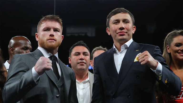 Gennady Golovkin and Saul Alvarez meet at the T-Mobile Arena, Las Vegas