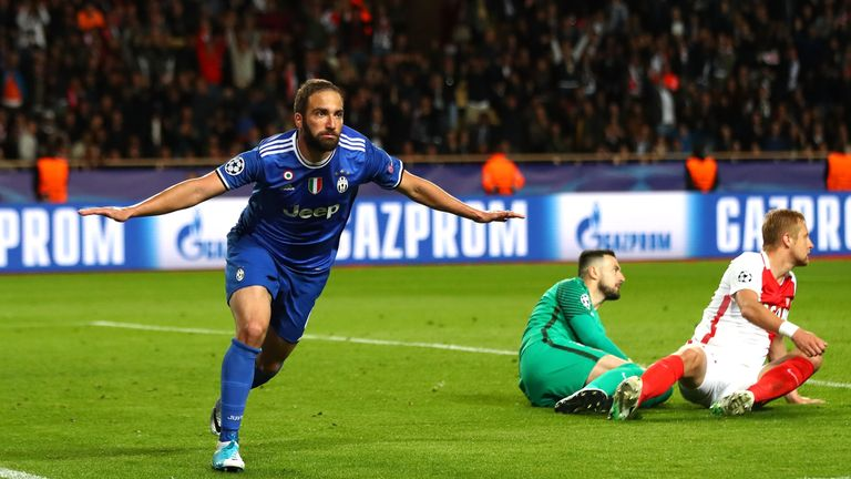Higuain wheels away to celebrate his and Juventus' second goal