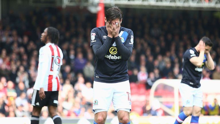 Danny Graham looks distraught as Rovers are relegated