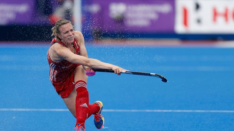 Kate in action for Great Britain during the FIH Women's Champions Trophy clash against Argentina last June