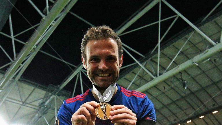 Mata celebrating the Europa League final victory in Stockholm