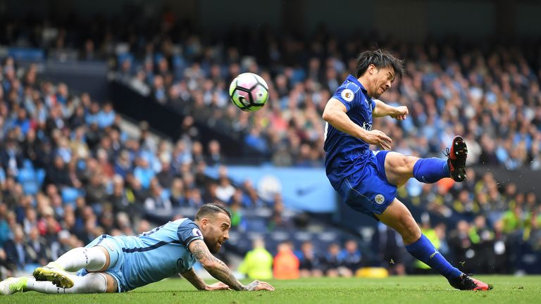 Shinji Okazaki reduces Manchester City's lead to 2-1