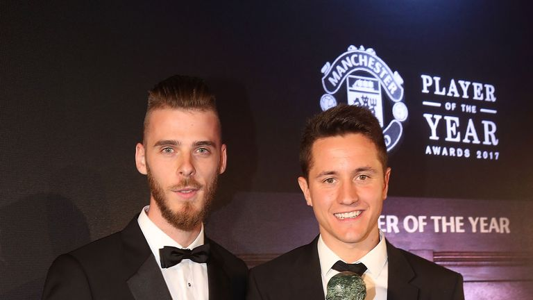 David de Gea presents Ander Herrera with the Sir Matt Busby Player of the Year award