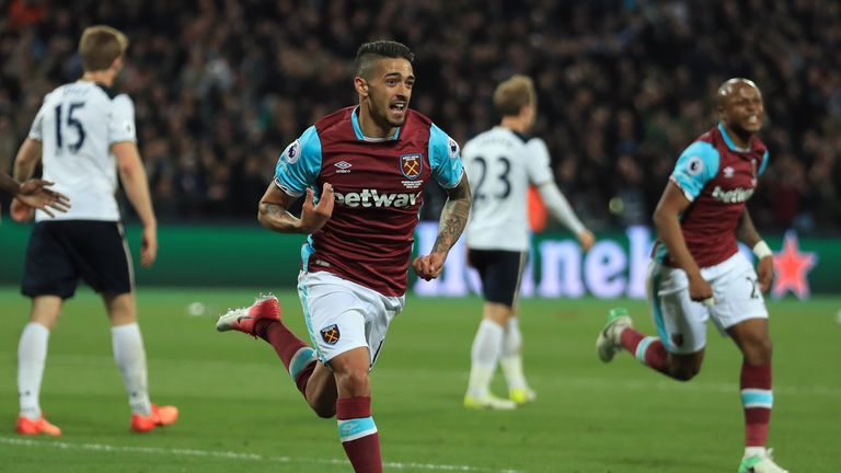 Manuel Lanzini celebrates scoring the winner against Tottenham