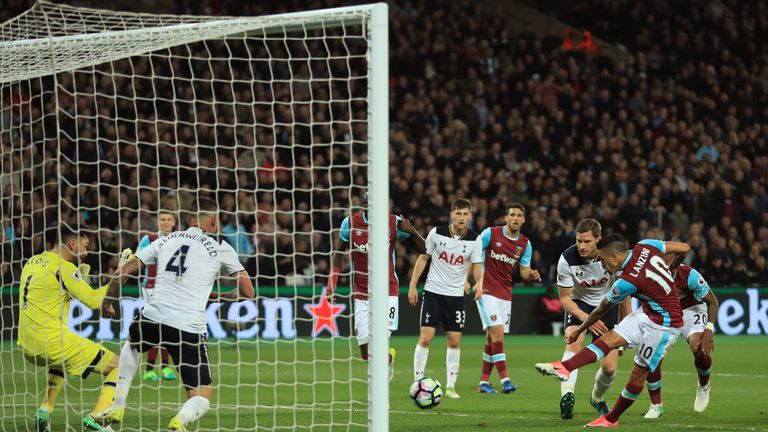 Lanzini netted the winner in the Hammers' 1-0 win over London rivals Tottenham earlier this month