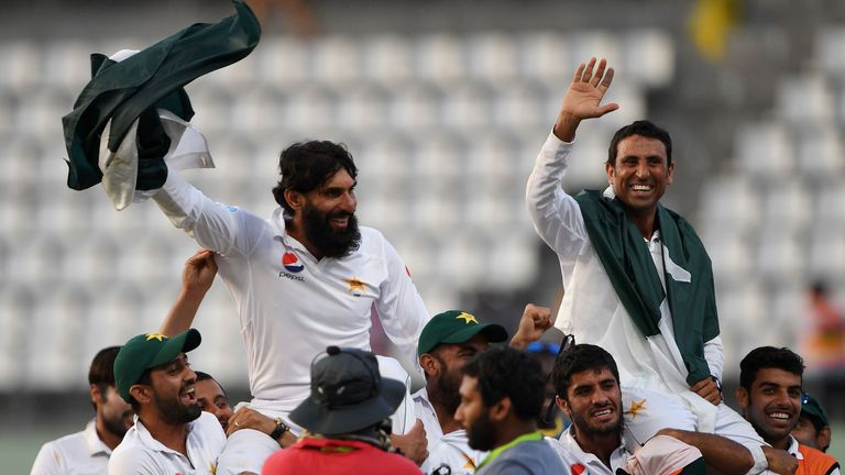 Misbah-ul-Haq and Younus Khan were carried aloft by their team-mates after victory in their final Test