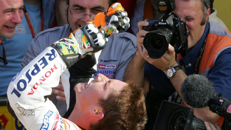 Nicky Hayden celebrates after winning the 2006 Moto GP championship