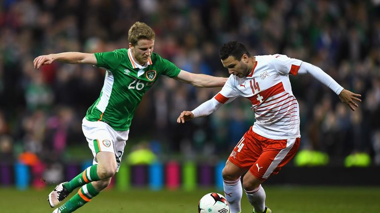 Renato Steffen of Switzerland is closed down by Eunan O'Kane of Republic of Ireland during the Aviva Stadium clash in March