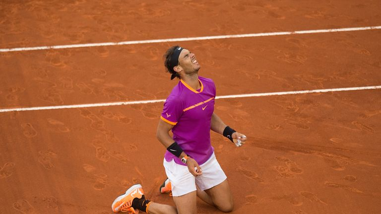 Nadal sank to the ground after sealing another Madrid title