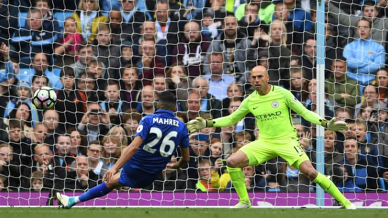 Riyad Mahrez slips and produces a two-touch penalty at Man City, which was disallowed