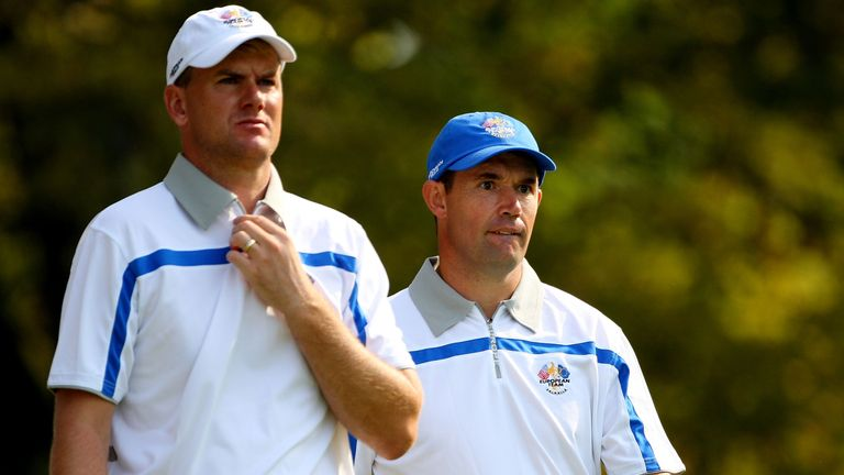 Padraig Harrington (right) played alongside Karlsson in two matches at Valhalla