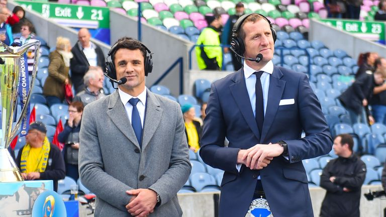 Dan Carter worked with Sky Sports for the Champions Cup final at Murrayfield