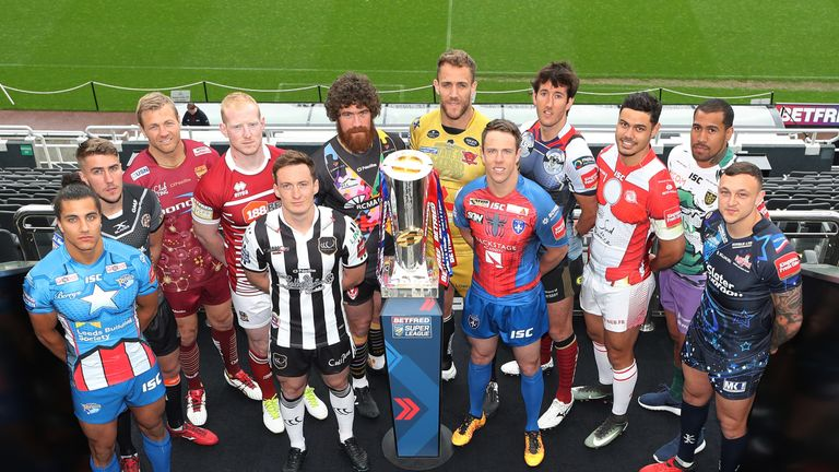 Players from the 12 Super League teams gather ahead of the 2017 Magic Weekend