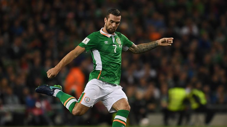 Shane Duffy of Ireland in action against Georgia